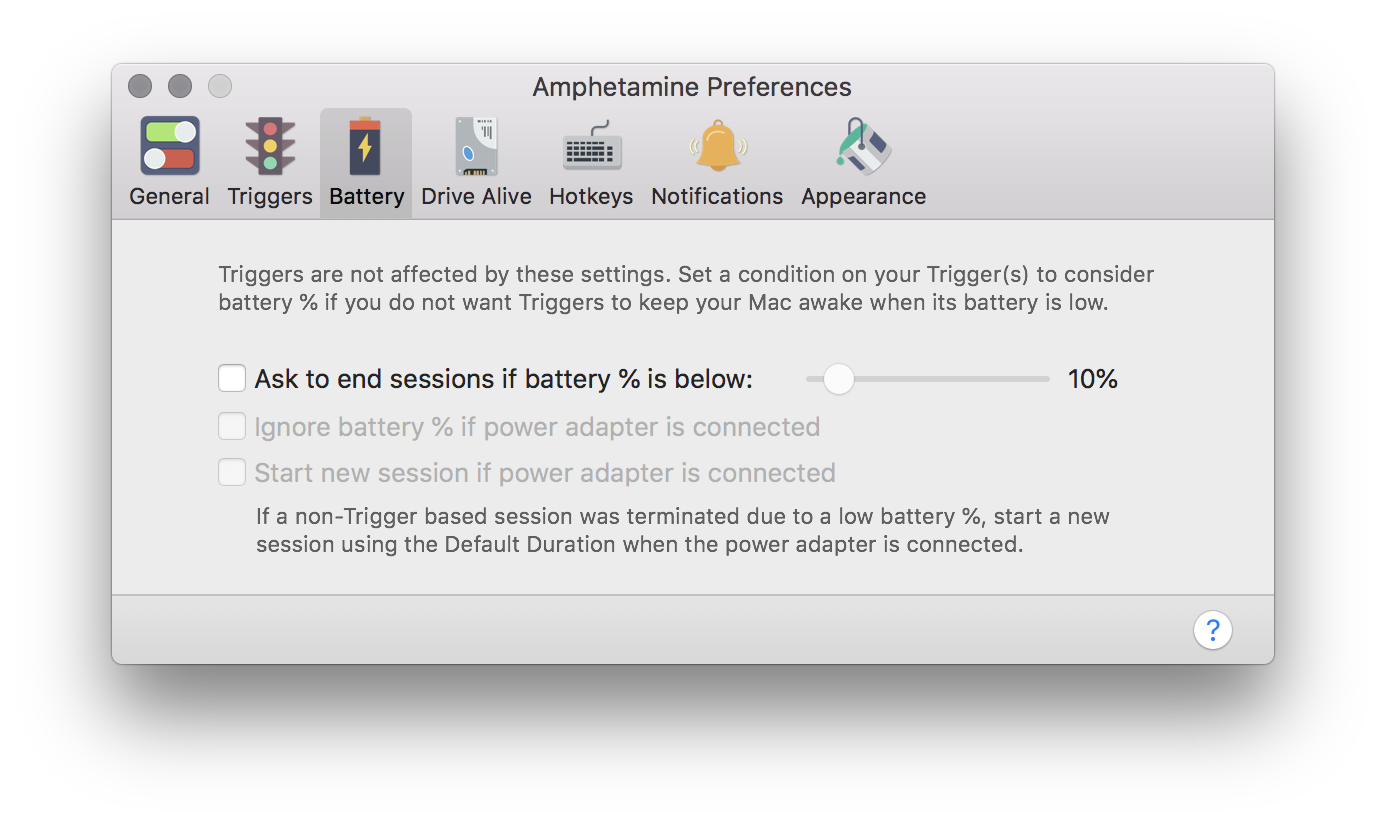 Battery level preferences window
